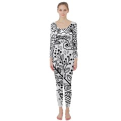 Black Abstract Floral Background Long Sleeve Catsuit