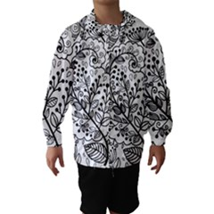 Black Abstract Floral Background Hooded Wind Breaker (kids)