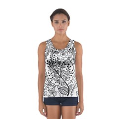Black Abstract Floral Background Women s Sport Tank Top