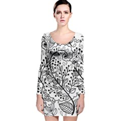 Black Abstract Floral Background Long Sleeve Velvet Bodycon Dress
