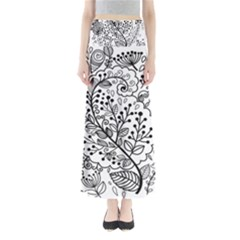 Black Abstract Floral Background Maxi Skirts