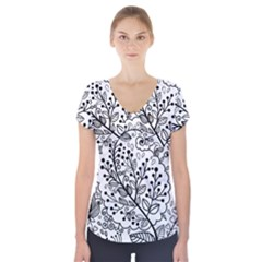 Black Abstract Floral Background Short Sleeve Front Detail Top