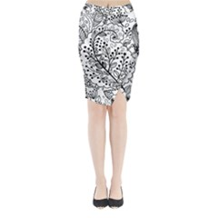 Black Abstract Floral Background Midi Wrap Pencil Skirt