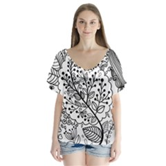 Black Abstract Floral Background Flutter Sleeve Top