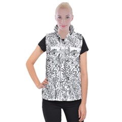 Black Abstract Floral Background Women s Button Up Puffer Vest