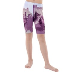 Abstract Painting Edinburgh Capital Of Scotland Kids  Mid Length Swim Shorts