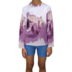 Abstract Painting Edinburgh Capital Of Scotland Kids  Long Sleeve Swimwear
