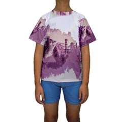 Abstract Painting Edinburgh Capital Of Scotland Kids  Short Sleeve Swimwear