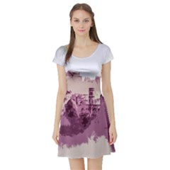 Abstract Painting Edinburgh Capital Of Scotland Short Sleeve Skater Dress