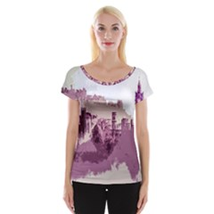 Abstract Painting Edinburgh Capital Of Scotland Women s Cap Sleeve Top