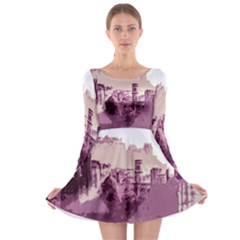 Abstract Painting Edinburgh Capital Of Scotland Long Sleeve Skater Dress
