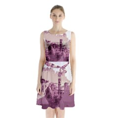 Abstract Painting Edinburgh Capital Of Scotland Sleeveless Chiffon Waist Tie Dress