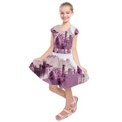 Abstract Painting Edinburgh Capital Of Scotland Kids  Short Sleeve Dress