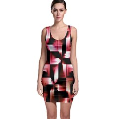 Red And Pink Abstract Background Sleeveless Bodycon Dress