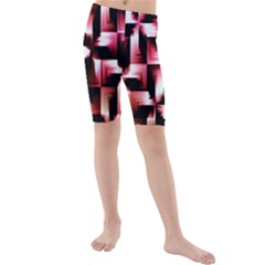 Red And Pink Abstract Background Kids  Mid Length Swim Shorts