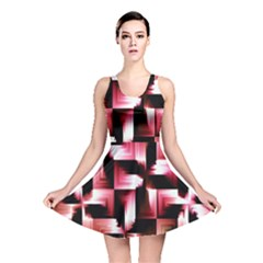 Red And Pink Abstract Background Reversible Skater Dress