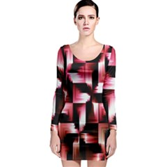 Red And Pink Abstract Background Long Sleeve Bodycon Dress
