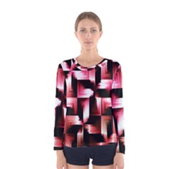 Red And Pink Abstract Background Women s Long Sleeve Tee