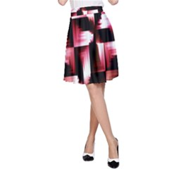 Red And Pink Abstract Background A Line Skirt
