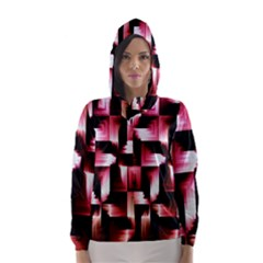 Red And Pink Abstract Background Hooded Wind Breaker (women)