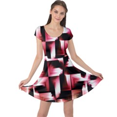 Red And Pink Abstract Background Cap Sleeve Dresses