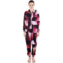Red And Pink Abstract Background Hooded Jumpsuit (Ladies)