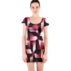 Red And Pink Abstract Background Short Sleeve Bodycon Dress