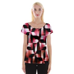 Red And Pink Abstract Background Women s Cap Sleeve Top