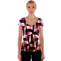 Red And Pink Abstract Background Women s V-Neck Cap Sleeve Top