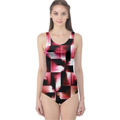 Red And Pink Abstract Background One Piece Swimsuit