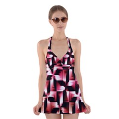 Red And Pink Abstract Background Halter Swimsuit Dress