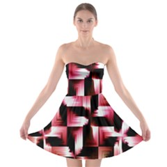 Red And Pink Abstract Background Strapless Bra Top Dress