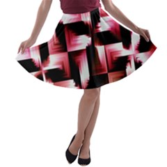 Red And Pink Abstract Background A Line Skater Skirt