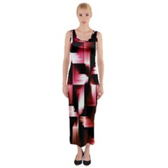 Red And Pink Abstract Background Fitted Maxi Dress