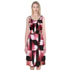 Red And Pink Abstract Background Midi Sleeveless Dress