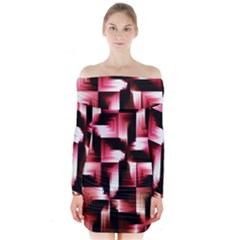Red And Pink Abstract Background Long Sleeve Off Shoulder Dress