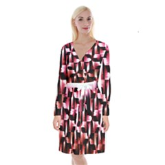 Red And Pink Abstract Background Long Sleeve Velvet Front Wrap Dress