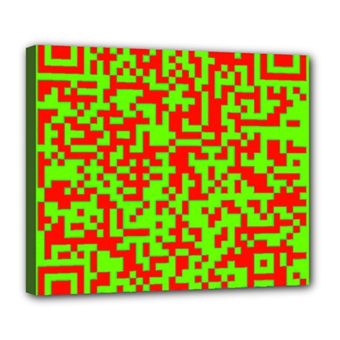 Colorful Qr Code Digital Computer Graphic Deluxe Canvas 24  x 20