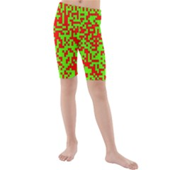 Colorful Qr Code Digital Computer Graphic Kids  Mid Length Swim Shorts