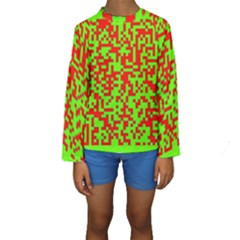 Colorful Qr Code Digital Computer Graphic Kids  Long Sleeve Swimwear