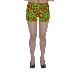 Colorful Qr Code Digital Computer Graphic Skinny Shorts