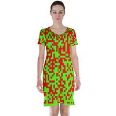 Colorful Qr Code Digital Computer Graphic Short Sleeve Nightdress