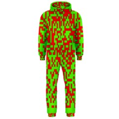 Colorful Qr Code Digital Computer Graphic Hooded Jumpsuit (Men)