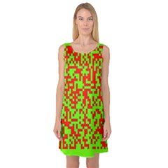 Colorful Qr Code Digital Computer Graphic Sleeveless Satin Nightdress
