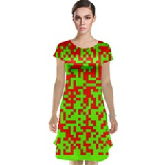 Colorful Qr Code Digital Computer Graphic Cap Sleeve Nightdress