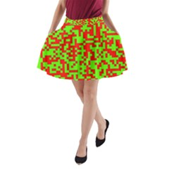 Colorful Qr Code Digital Computer Graphic A-Line Pocket Skirt