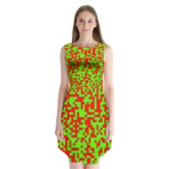 Colorful Qr Code Digital Computer Graphic Sleeveless Chiffon Dress