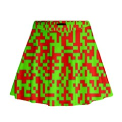 Colorful Qr Code Digital Computer Graphic Mini Flare Skirt