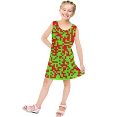 Colorful Qr Code Digital Computer Graphic Kids  Tunic Dress