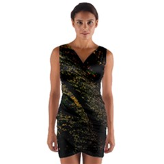 Abstract Background Wrap Front Bodycon Dress